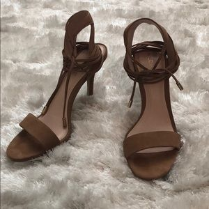 Aldo Lace Up Ankle Tan Suede Stilettos. Size 10